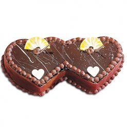 Double Heart Shape Anniversary Cake