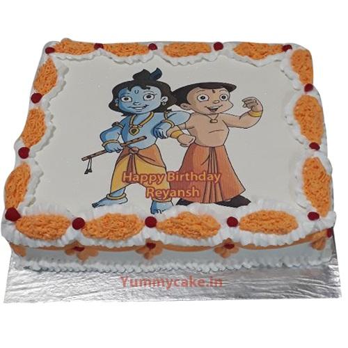 Krishna & Bheem photo cake