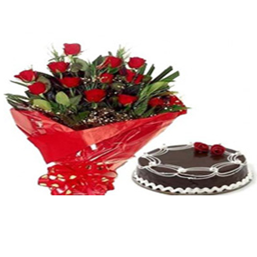 Chocolate Truffle Cake with 10 Red Roses