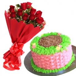 1kg Basket Cake With 15 Roses
