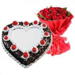 1/2kg Black forest cake 12 Yello Roses