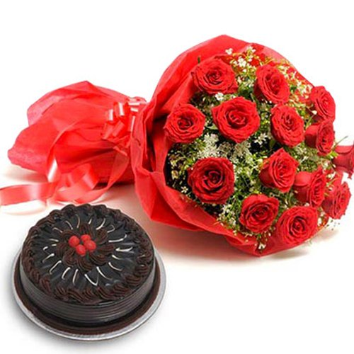10 Red Roses with 1/2kg Chocolate Cake