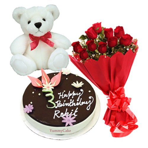 Chocolate Cake With 12 Red Roses And Teddy Bear Yummycake