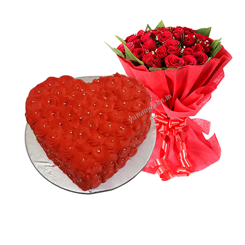 Cake With Red Roses Buy Red Roses Cake Online Yummycake