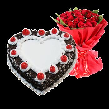 Black forest cake 12  Roses