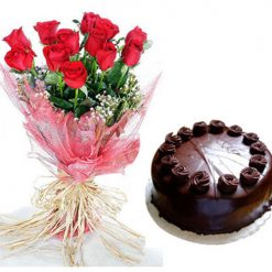 Cake+Red Rose Bunch