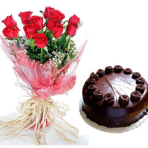 Cake+Red Rose Bunch