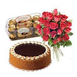 Chocolate Cake With 16 Pieces Ferrero & 10 Roses
