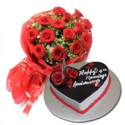 chocolate Truffle eggless cake with 20 Red Rose Bunch