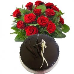 Eggless Chocolate Cake with 20 Red Roses