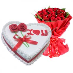 1/2 Kg Heart Shape Vanila Cake Or 20 Mix Roses