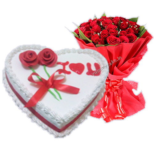 1/2 Kg Heart Shape Vanila Cake with 20 Mix Roses