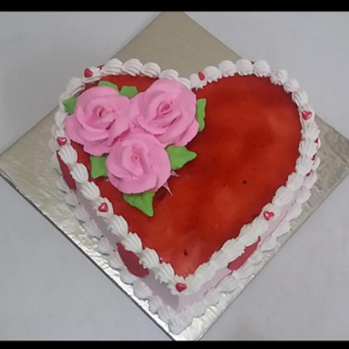 Strawberry Cake Heart Shaped