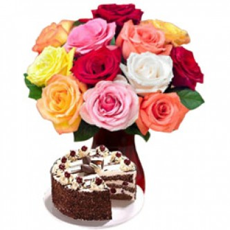 Mixed Roses and Cake
