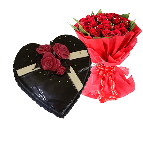 Chocolate Cake With Roses Bouquet Online Yummycake