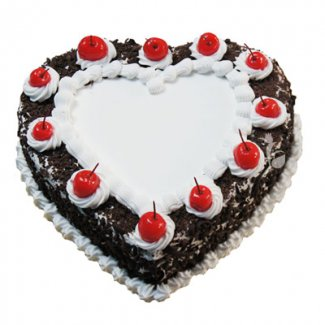 Black Forest Heart Shape Cake 1 Kg