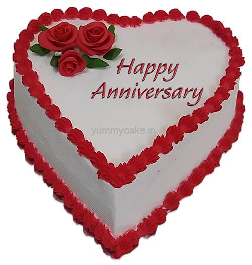 order for anniversary heart shape cake from yummycake