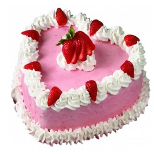 Heart Shape Strawberry Cake Delhi, Noida and Faridabad - Yummy Cake