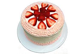 vanilla cake with fresh strawberries