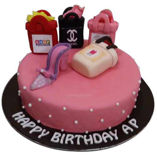 designer shopping bag cake