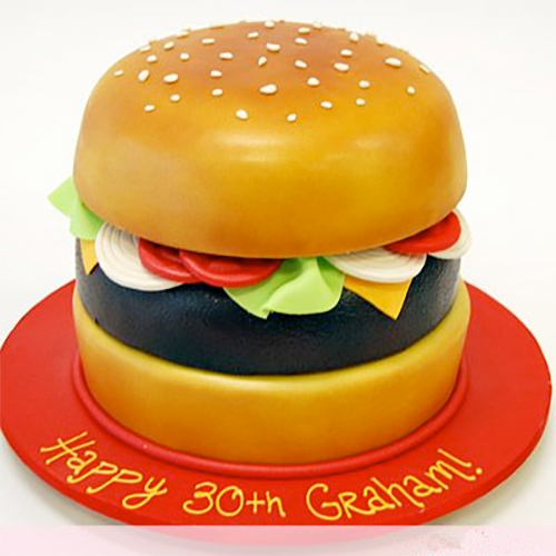 Burger Birthday Cake - Yummycake.in