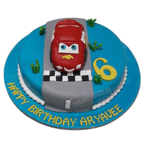 Cool Lightning Mcqueen Birthday Cake Online Low Price Yummycake Personalised Birthday Cards Veneteletsinfo