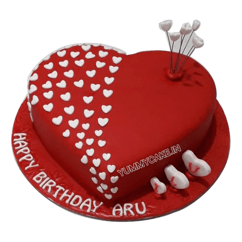 Super Heart Shaped Birthday Cake For Husband Order Online Yummycake Funny Birthday Cards Online Fluifree Goldxyz