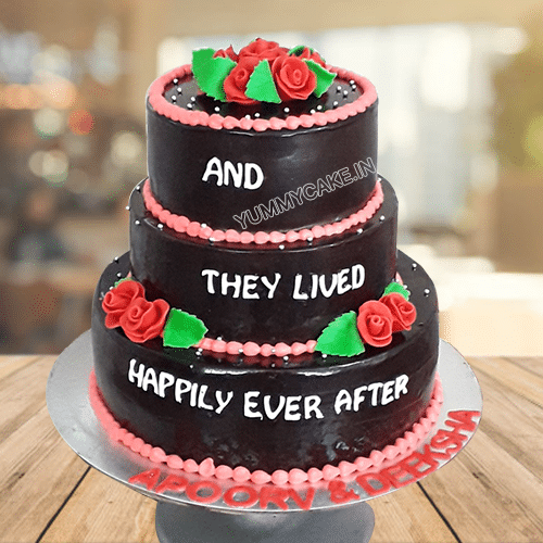 Beautiful Rose 3 Tier Wedding Cake