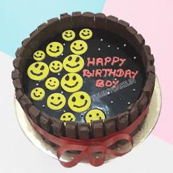 Emoji and kitkat Cake