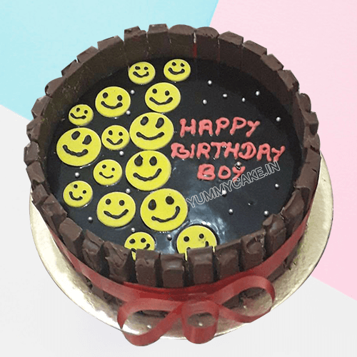 Emoji and kitkat Cake