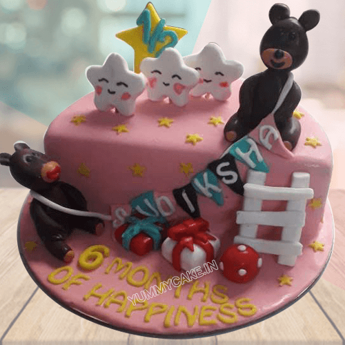 6 Month Birthday Cake for Baby Girl