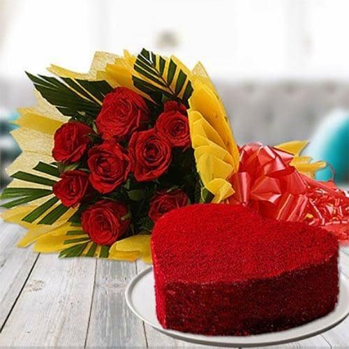 Red Velvet cake with flower combo